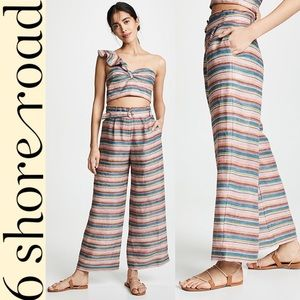 6 Shore road linen wide leg stripe high rise pants